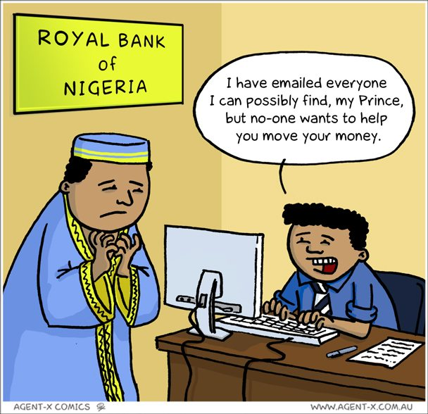 Nigerian Prince cartoon scam