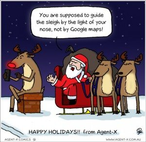 Actually, Rudolph was checking in to every house, so he could become the foursquare mayor of the world.